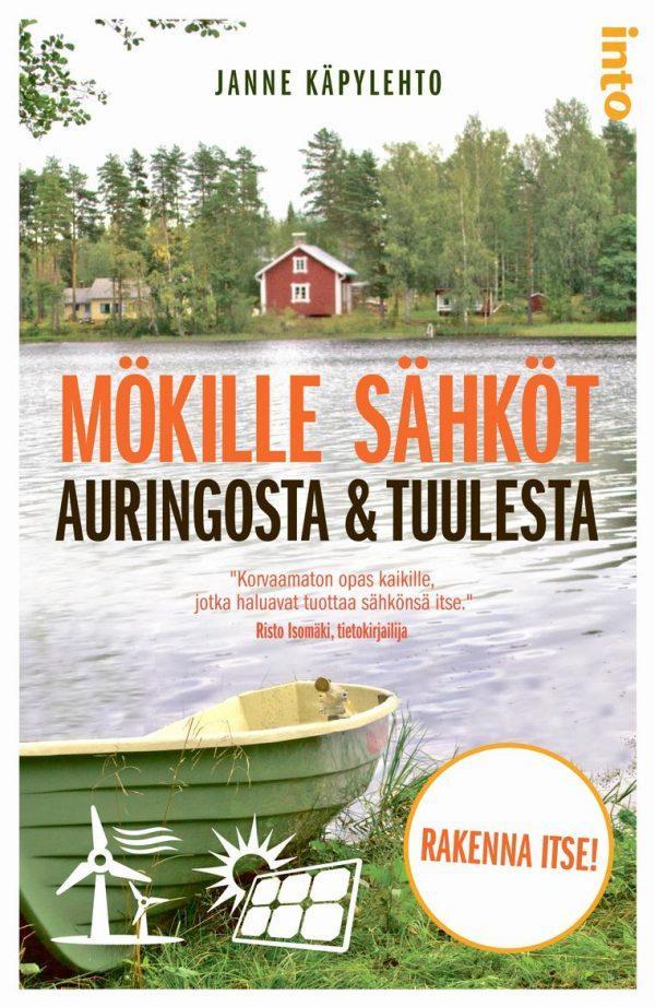 Mökille sähköt auringosta ja tuulesta -oppaan kansikuvassa on järvi ja vene ja vastarannalla punainen mökki.