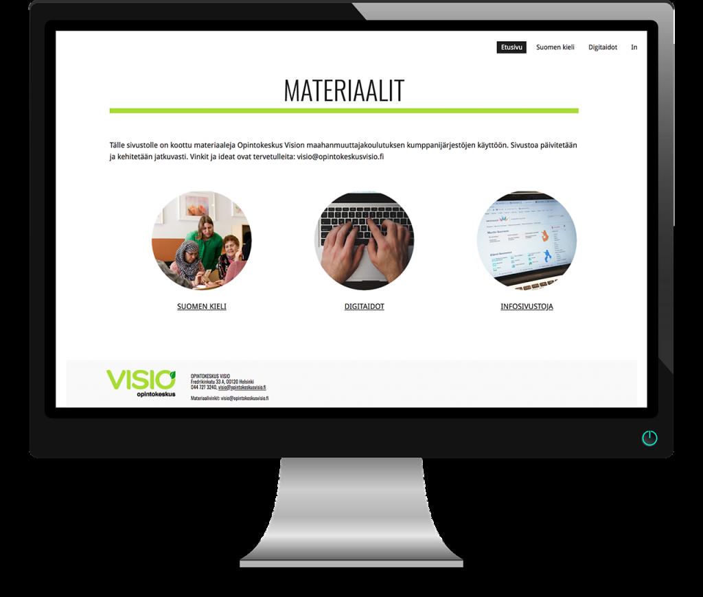 Esikatselukuva Opintokeskus Vision materiaalisivustosta kumppanijärjestöjen käyttöön.
