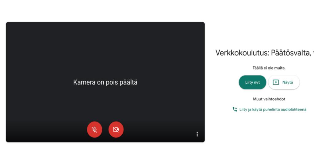 Näytönkaappaus Google Meets -odotushuoneesta, jossa laitetaan kamera ja mikrofoni pois päältä ja liitytään kokoukseen.