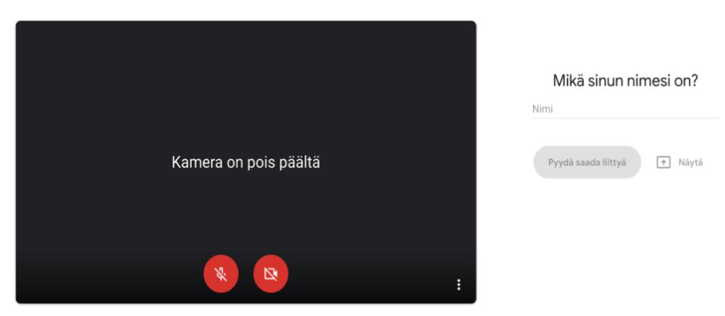 Näytönkaappaus Google Meets -odotustilasta, jossa kysytään osallistujan nimeä.