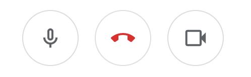 Näytönkaappaus symboleista Google Meets -videoneuvottelun symboleista mikrofoni, puhelun päättäminen ja videokuva.