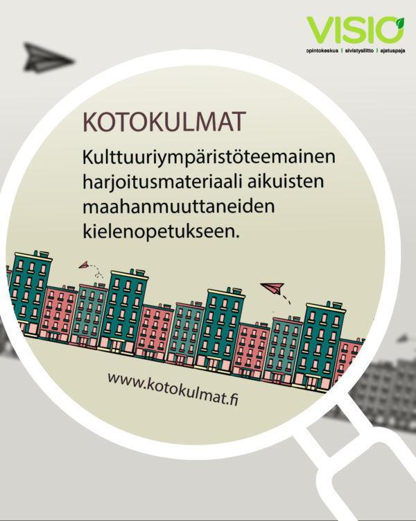 Kotokulmat -materiaalin julakisukuvassa on värikkäitä kaupunkitaloja ja lennokkeja.
